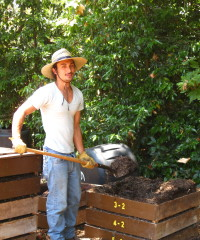 Gino Moving the Compost